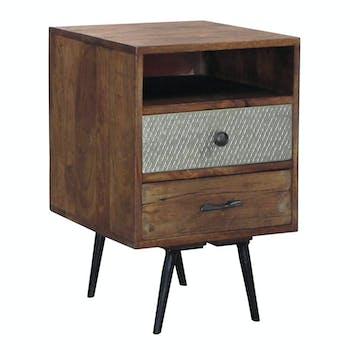 Table de Chevet / Bout de Canapé 2 tiroirs Patchwork et 1 niche en bois exotique 40x40x60cm PATCHOULI