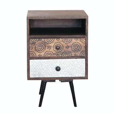 Bout de Canapé / Table de Chevet 2 tiroirs Patchwork et 1 niche en bois exotique 40x40x60cm PATCHOULI