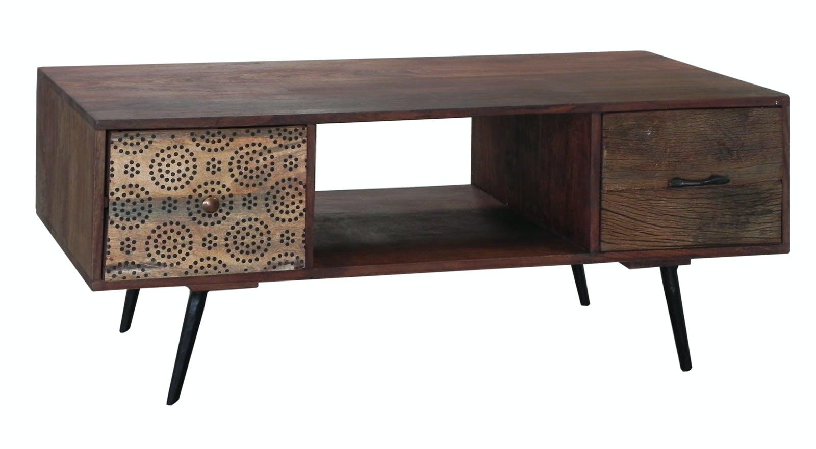 Meuble TV / Table basse 2 tiroirs Patchwork et 1 niche en bois exotique 110x55x45cm PATCHOULI