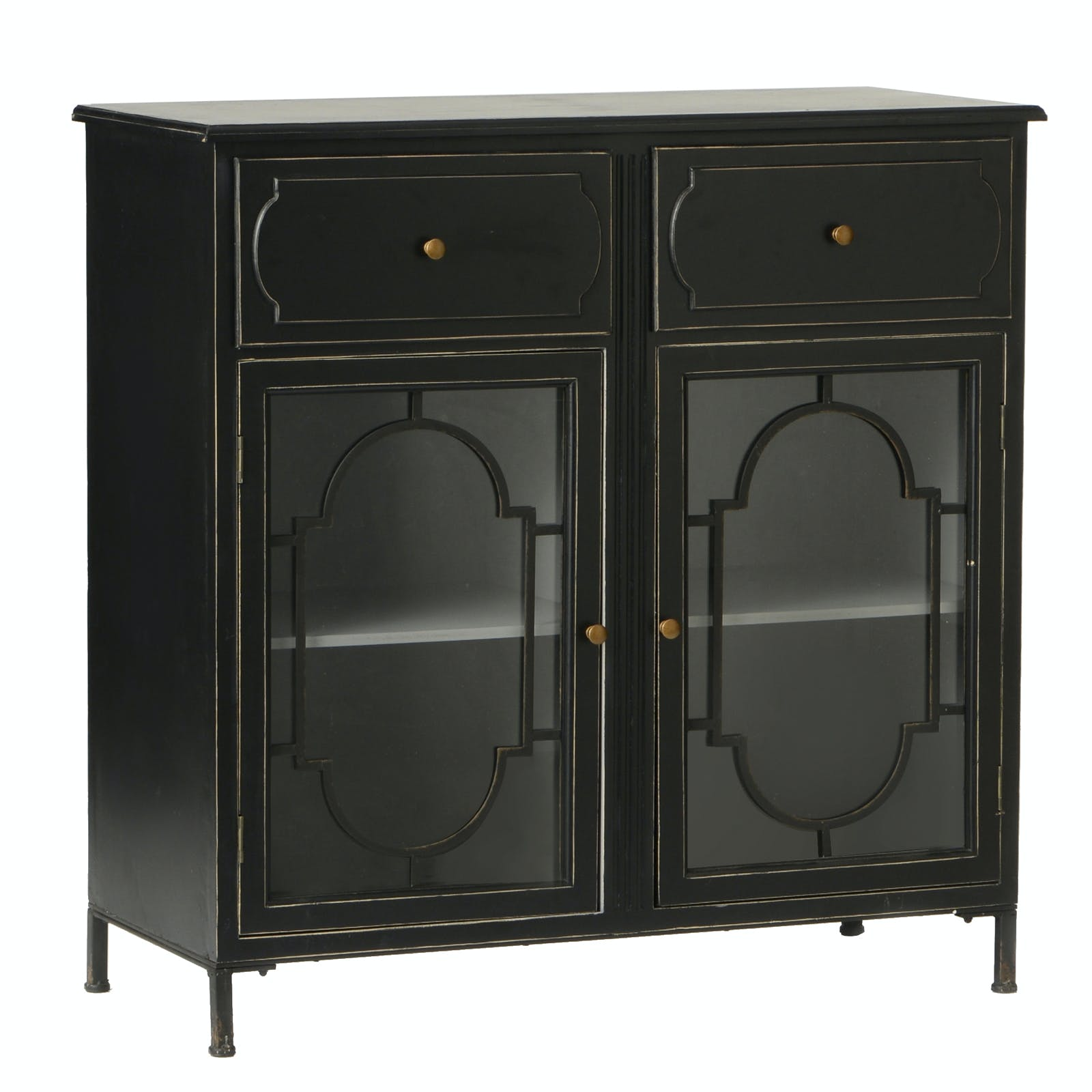 Buffet en bois noir, 2 tiroirs et 2 portes vitrées avec décor métal 101x45x100cm ACADEMIE