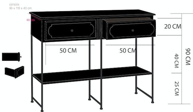 Console double en bois noir, 2 tiroirs et double plateaux 110x40x90cm ACADEMIE