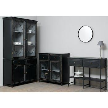 Vaisselier 2 Corps en bois noir, 2 tiroirs et 4 portes dont 2 vitrées avec décor métal 110x45x210cm ACADEMIE