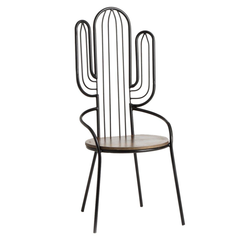 Chaise Cactus en métal noir et assise ronde en bois 55x48x122cm