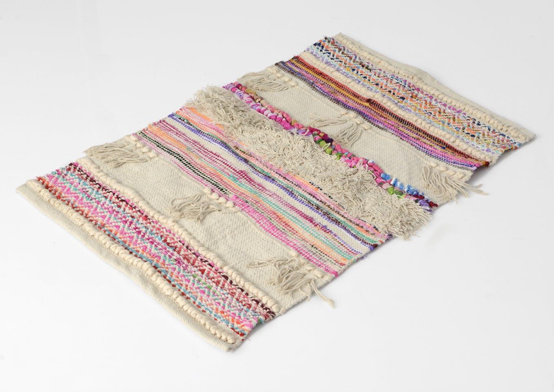 Tapis Bohème aux couleurs Pop multicolore en coton 90x60cm