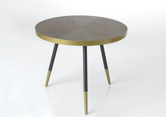 Table basse plateau avec effets et cerclage doré et pieds noirs et dorés D81xH45cm ART-DECO