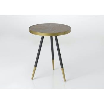 Sellette plateau avec effets et cerclage doré et pieds noirs et dorés D58xH80cm ART-DECO