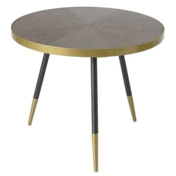 Table d'appoint / Bout de Canapé plateau avec effets et cerclage doré et pieds noirs et dorés D61xH50cm ART-DECO