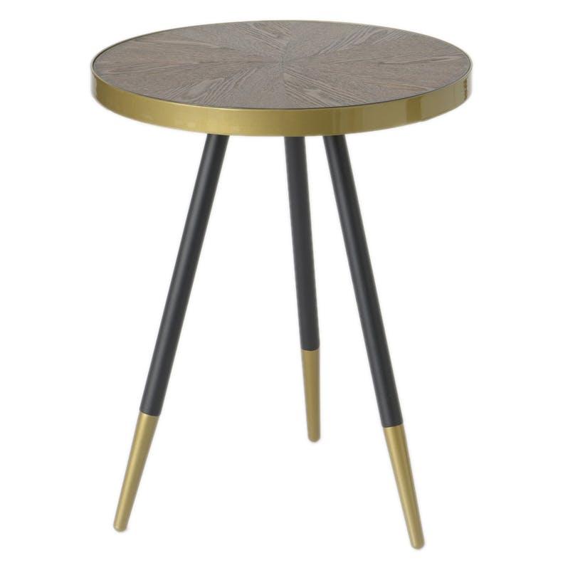 Table d'appoint / Bout de Canapé plateau avec effets et cerclage doré et pieds noirs et dorés D44xH55cm ART-DECO