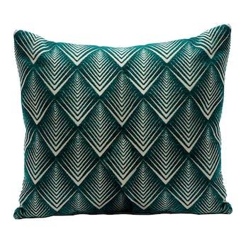Coussin motif Losanges enchevêtrés couleur bleu canard 45x45cm