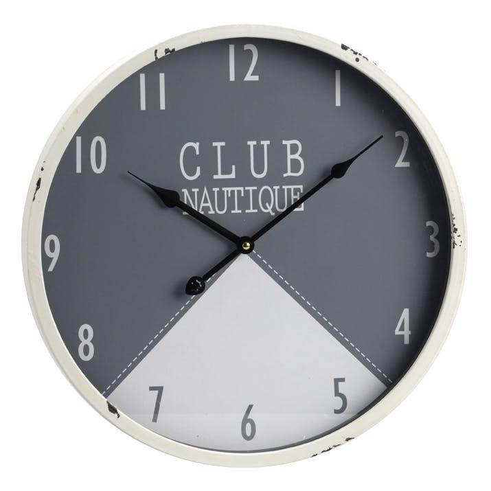 "Horloge ""Club Nautique"" en métal bi-couleur D40cm"