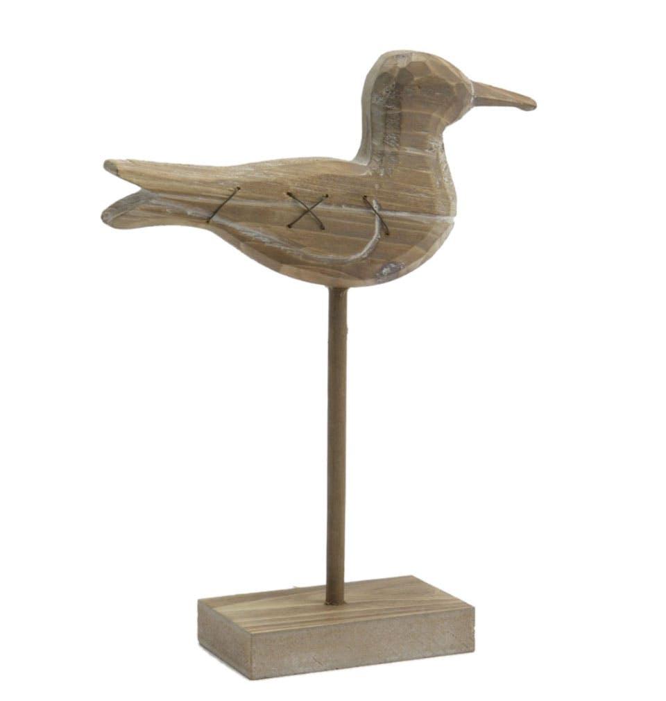 Oiseau en bois sculpté sur socle H25cm
