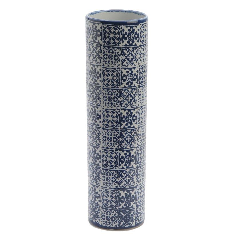 Vase Tube en céramique motif Carreaux de Ciment H35cm