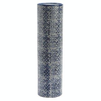 Vase Tube en céramique motif Carreaux de Ciment H45cm