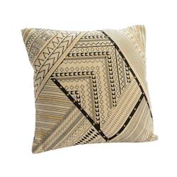 Coussin en coton écru motifs ethniques noirs 40x40cm