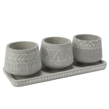 Lot de 3 Cache-pots Massaï en ciment sur plateau 36x13x11cm