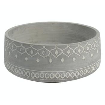 Cache-pot Massaï en ciment D27cmxH11,8cm