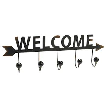 """Patère en métal noir vieilli avec 5 crochets """"Welcome"""" 60x20x8cm"""