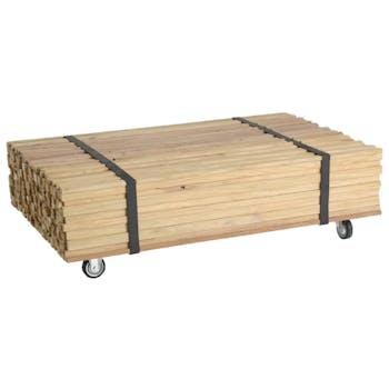 Table basse à roulettes en bois recyclé naturel 110x70x33cm