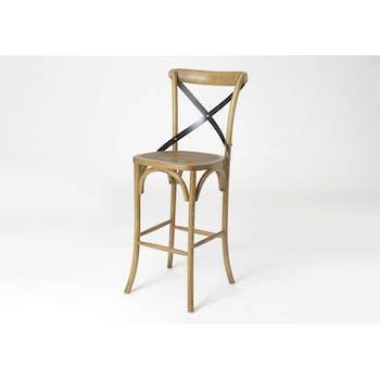 Chaise de bar en bois naturel avec croisillon et assise cannage 46x42x118cm