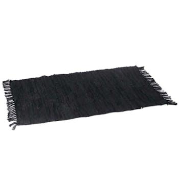 Tapis à franges, en cuir recyclé et coton noir 60x90cm