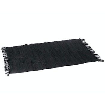 Tapis à franges, en cuir recyclé et coton noir 80x120cm