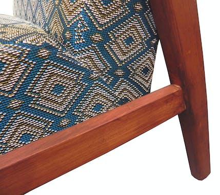 Fauteuil Club tissu motifs bleu doré ZANZIBAR ref. 30020684