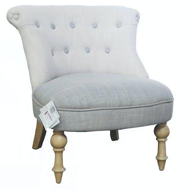 Fauteuil Crapaud Capitonné tissu gris beige PRAGUE ref. 30020689