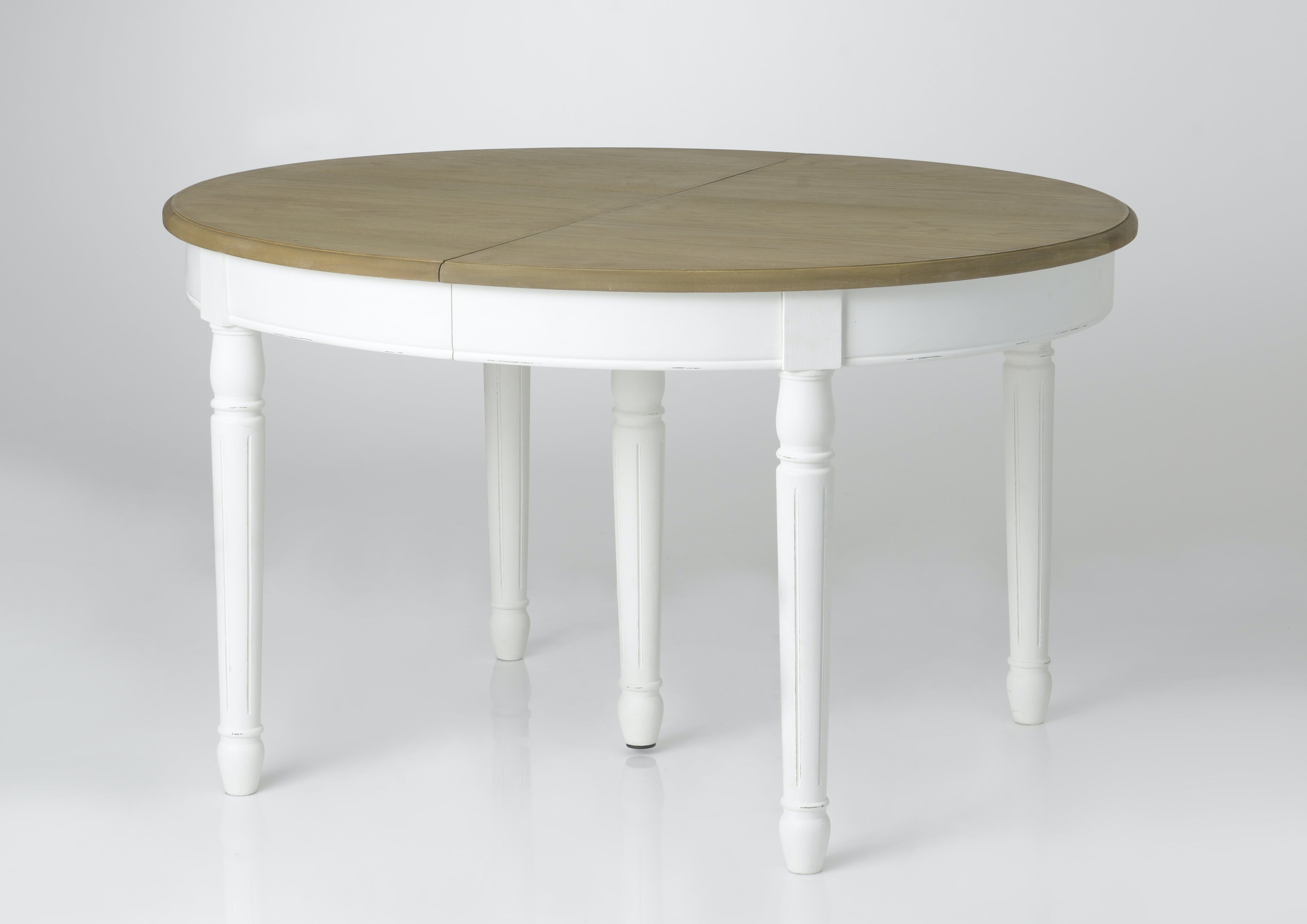 Table à manger ovale extensible bois massif blanc PRAGUE