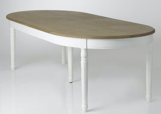 Table à manger ovale extensible bois massif blanc PRAGUE