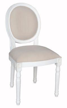 Chaise médaillon beige bois massif PRAGUE ref. 30020691