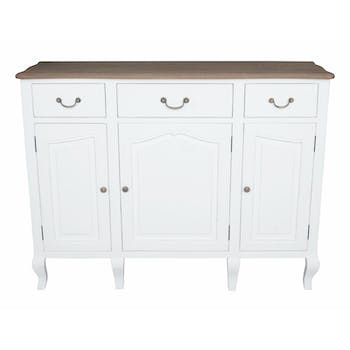 Buffet bois massif blanc PRAGUE ref. 30020692