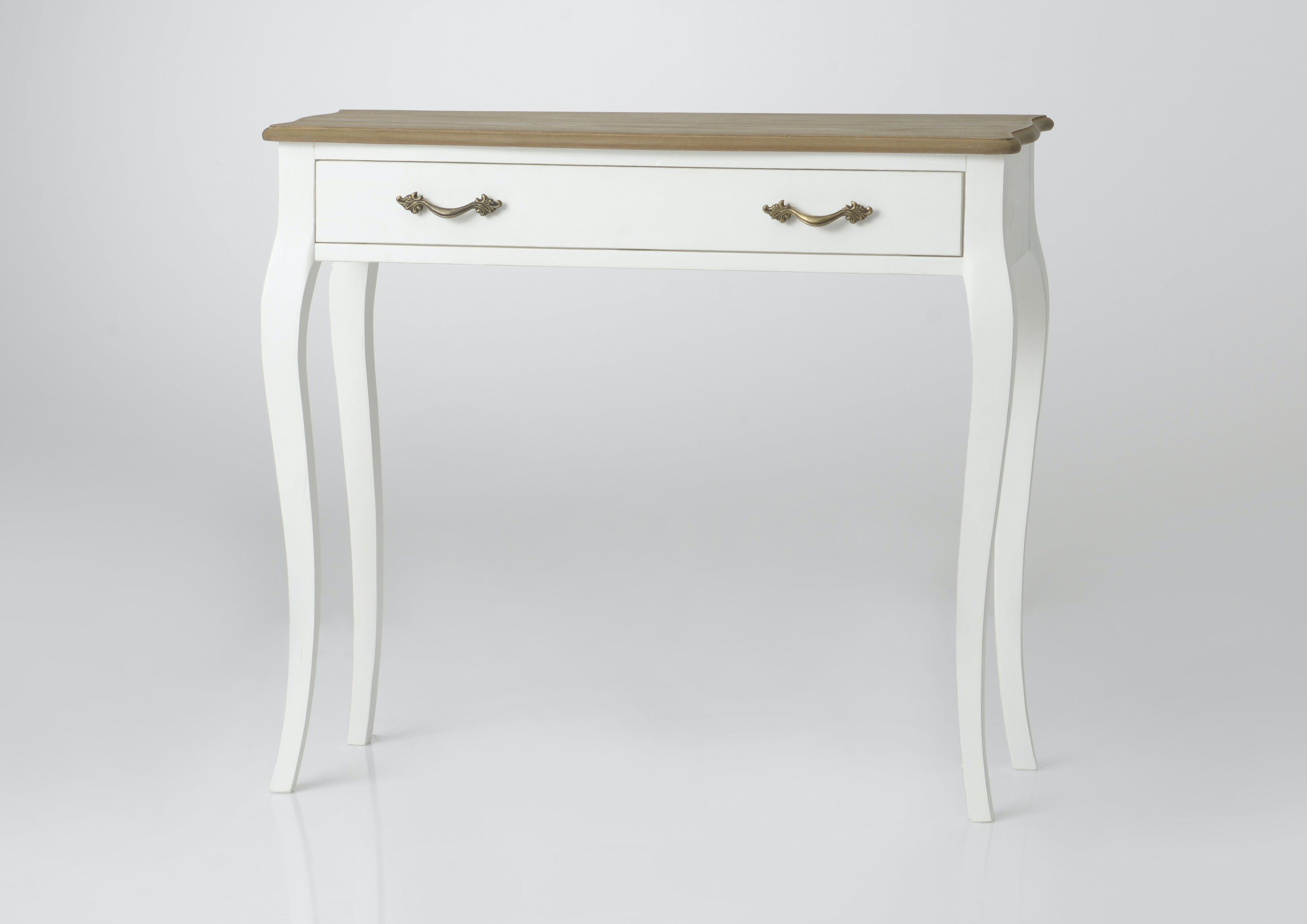 Console bois massif blanc 1 tiroir PRAGUE ref. 30020693