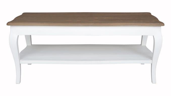 Table basse bois massif double plateau blanc PRAGUE ref. 30020694