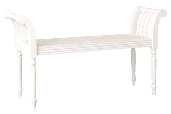 Banc bout de lit bois et cannage blanc