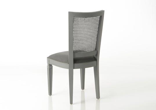 Chaise grise cannée acajou tissu