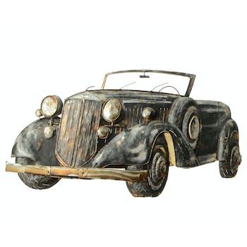 Tableau voiture ancienne bois métal 100x56 cm