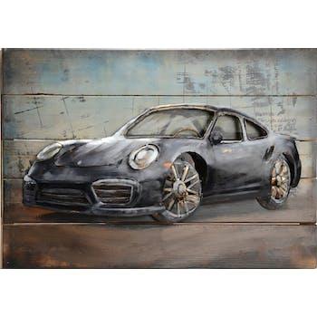 Tableau voiture sport bois métal 60x40 cm