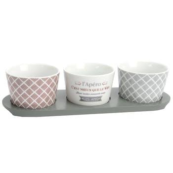 Coffret plateau apéritif 3 coupelles porcelaine