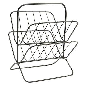 Porte-revues design métal noir 2 niveaux