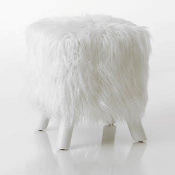 Tabouret en fourrure blanc