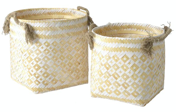 Set de 2 paniers bambou avec anses