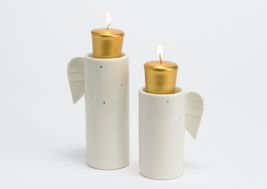 Photophore Noël ange porcelaine 15 cm
