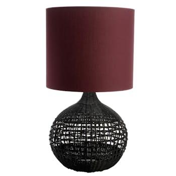 Lampe rotin noir coton couleur prune 79 cm