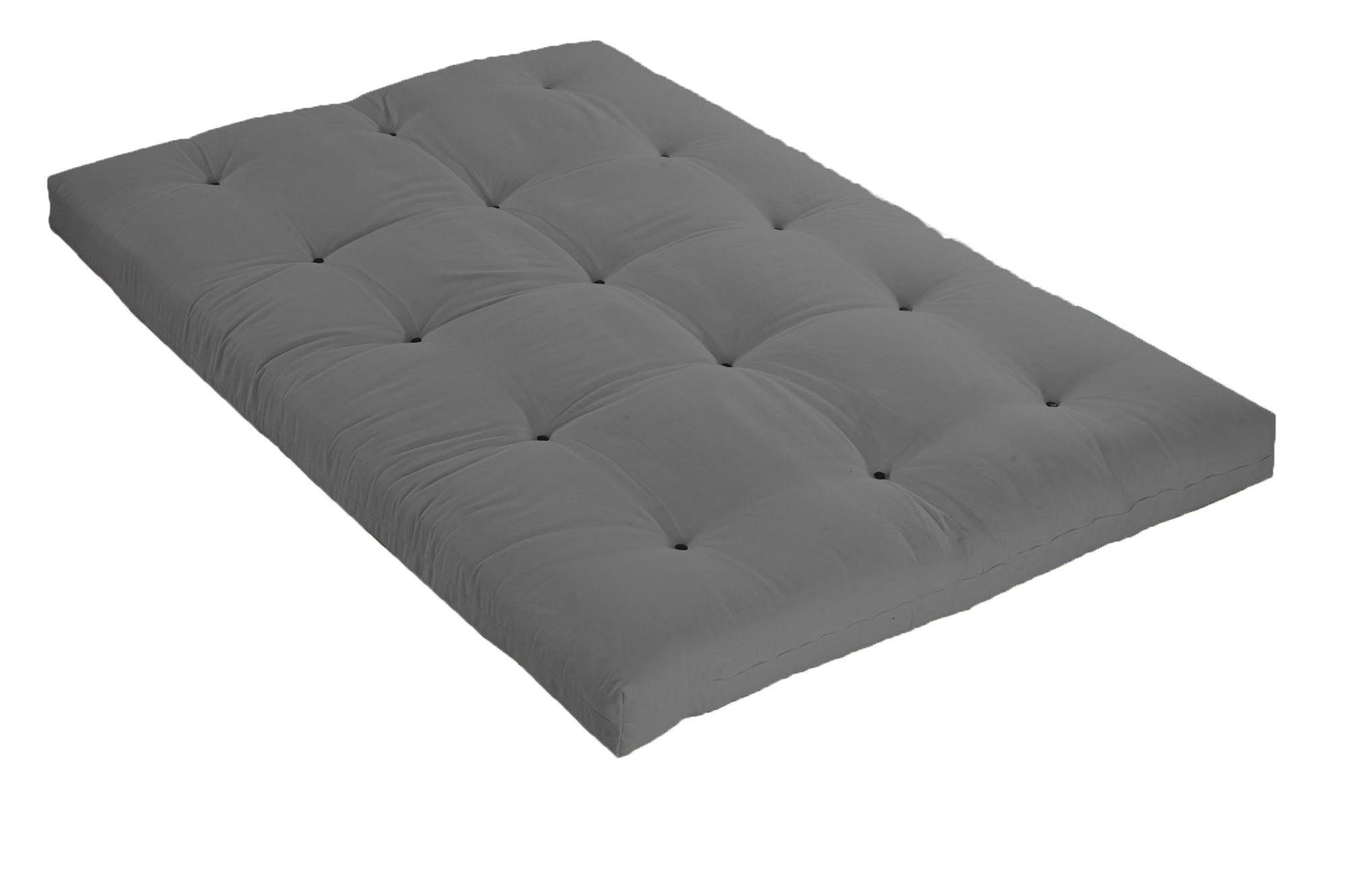 Véritable Futon coton 2 pers 140 X 190 cm gris