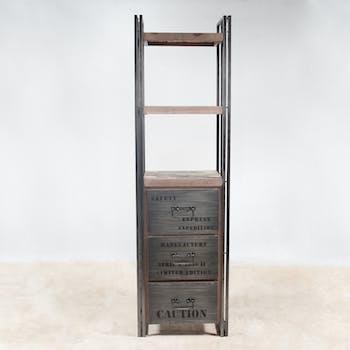 Etagère bois recyclé 3 plateaux 3 tiroirs 60x210 CARAVELLE