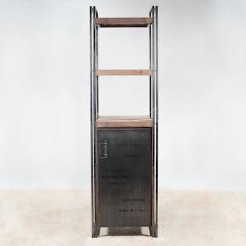 Etagère bois recyclé 3 plateaux 1 porte 60x210 CARAVELLE