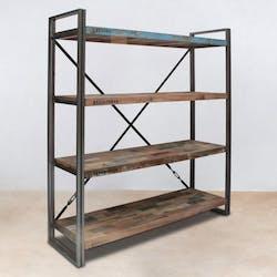 Bibliothèque bois recyclé 4 étagères 160x164 CARAVELLE