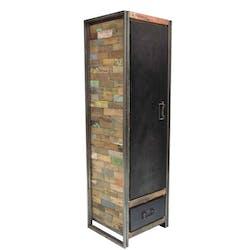 Armoire bois recyclé 1 porte 3 étagères 1 tiroir 60x200 CARAVELLE