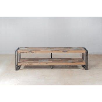 Meuble TV bois recyclé métal double plateau 120 CARAVELLE