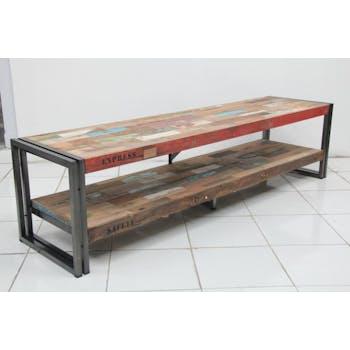 Meuble TV bois recyclé métal double plateau 200 CARAVELLE